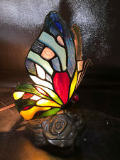 "Quoizel Butterfly Tiffany Accent Lamp-Night Light 8.5"" Tall Stained Glass Wings"