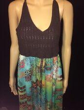 American Rag Dress halter crochet Long flowy Dress Medium bin #53