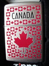 ZIPPO CANADIAN MAPLE LEAVES LIGHTER CANADA FLAG SYMBOL RED SQUARES NEW !!!!!!