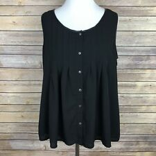 Skies Are Blue Stitch Fix Womens Black Sleeveless Top M Boxy Pleated Button Down