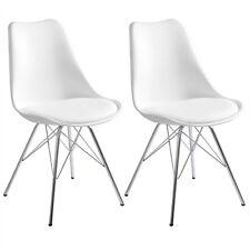2 X Esszimmerstühle Küchenstuhl Design Stuhl Kunstleder Metall Weiß BH05ws 2