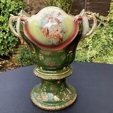 Victorian Antique Gilt Urn Vase Depicting Renaissance Lady Mother & Putti Angel