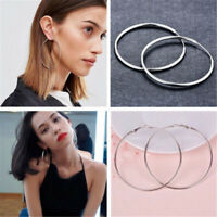Women Big Large Round 925 Silver Ear Stud Hoop Dangle Earrings Wedding Jewelry
