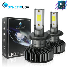 Syneticusa H7 COB LED Headlight Low Beam Kit 6000K White Light Pair Bulbs 5000LM