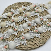 1 Yard Flower Beaded Lace Trim Hairball Ribbon Wedding Dress Sewing Fringe Decor