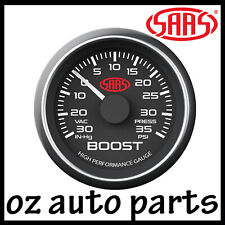 """SAAS Performance Turbo Boost 52mm 2"""" 30 In-Hg 35 PSI Gauge Black Ford BF FG FPV"""