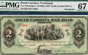 1873 $2 SOUTH CAROLINA,CHARLESTON- RR Co. two Passengers Super Gem Unc 67 EPQ