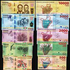 Burundi 5 PCS SET, 10000-5000-2000-1000-500 Fr. 2015 2018, UNC, P-50-51-52-53-54