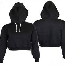 Women Plain Hangover Crop Top Hooded Full Hoodie Sweatshirt Sports Wear 5 Colors