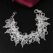 New Full Butterfly Sterling Bangle Silver Bracelet Jewelry Women Party Cute Gift