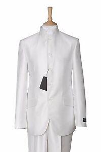 MENS NEW WHITE NEHRU GRANDAD BEATLES COLLAR ITALIAN DESIGNER WEDDING DRESS SUIT