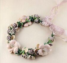 Flower Crown/Wedding Hair Wreath Floral Headband Garland with Adjustable Ribbon