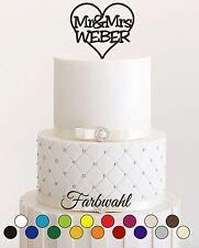 Wunschnamen Tortenstecker Hochzeit, personalisiert, Cake Topper Acrylglas Mr Mrs