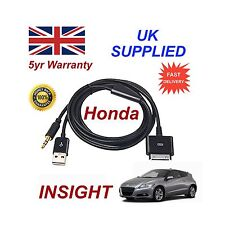 Para HONDA Jazz Iphone 3GS 4 4S Ipod USB y cable AUX 3.5 mm Negra De Repuesto