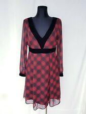 F&F Dress sz 14 Red & Black Tartan Plaid Evening Party Christmas New Year Empire