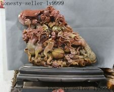 old Chinese natural Shoushan Stone master Hand carved Babao Dragon loong statue