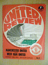 1970 Football Programme Manchester United v West Ham United 29th August