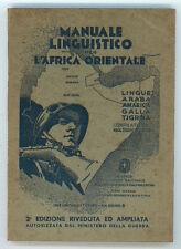 CARESSA FERRUCCIO MANUALE LINGUISTICO PER L'AFRICA ORIENTALE 1936 COLONIE ITALIA
