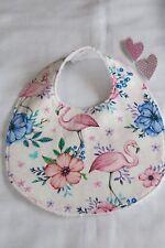 Handmade bib- Flamingos and flowers