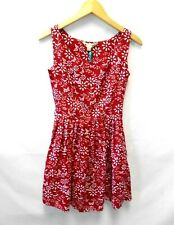 BNWT Yumi Red White Floral Sleeveless Short Flared Summer Dress Size 8 (A16-B)