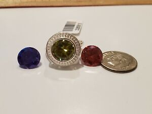 Changable simul Yellow Red Purple diamond 13.5 cts ring sz 5 sterling silver 925