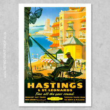 BR Hastings & St Leonards Poster #2 - Railway Posters, Retro Vintage Travel P...