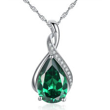 925 Sterling Silver Created Emerald Gemstone Pear Pendant Necklace Gifts for Her