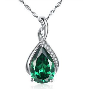 Sterling Silver Created Emerald Gemstone Pear Cut Pendant Necklace Gifts for Her