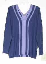 NWT $345 VINCE 100% CASHMERE V NECK SWEATER, STRIPE, BLUE, SIZE SMALL