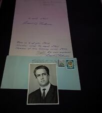 A.I.B. gislason Thorsteinsson † 1995 ministros Island signed 20x30 carta de presentación