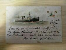1904 Australian Vintage P and O Cruises Paquebot Cancel Marseilles Ship Postcard