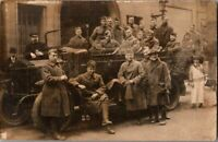 Black & White Photo Postcard Military WWI Soldiers & Citizens Fire Station