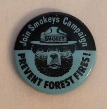 Join Smokey's Campaign Prevent Forest Fires Button Pin Smokey Bear