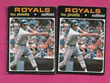 2 X RARE 1971 OPC # 35 ROYALS LOU PINIELLA  CARD (INV# C1368)