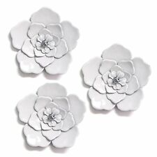 White Wall Flowers (Set of 3) Hanging Interior Wall Art Home Decor