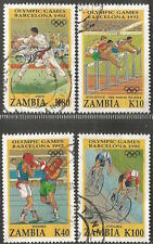 ZAMBIA 1992 BARCELONA OLYMPIC GAMES COMPLETE POSTAL USED SET 1143