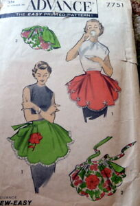 LOVELY VTG 1950s REVERSIBLE APRON ADVANCE Sewing Pattern