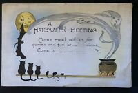 Vintage~Halloween postcard~Cats~Mice~Ghost~Bats~Party Invitation Greetings-s909
