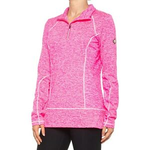 new Spyder Long Sleeve Accord Zip T-Neck Base Layer Top in Bryte Bubblegum Large