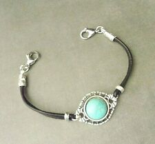 Handmade Medical Alert ID Replacement Bracelet Strand Black Leather/Turquoise