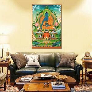 90x60cm Sakyamuni Amitabha Buddha Statue Mural Tibet Thangka Silk Cloth Gift New