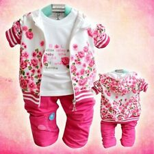 Infant Newborn Girls Casual Clothing Hooded Coat+Tops+Pants Peony Sweater Sets