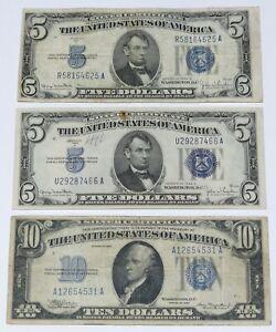 2) 1934-D $5 Silver Certificates + 1) 1934 $10 Silver Certificate