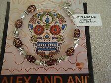 Alex and Ani RADIANCE PLUM Russian Silver Bangle New W/ Tag Card & Box