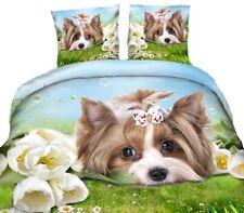 4 tlg. 3D Effekt Bettwäsche Bettbezug Bettgarnitur 155 x 200cm Yorkshire Terrier