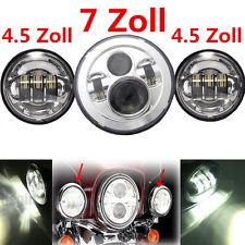 7'' LED Haupt Scheinwerfer+ 2x 4.5'' Zusatzscheinwerfer Nebelleuchte Für Harley