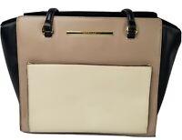 Anne Klein Women's Fashionable Designer Shoulder Tote Handbag Purse Black Beige