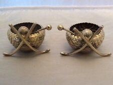 Pair Of Antique Hockey Stick Novelty Sporting Salt Pots & Spoons