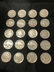 VINTAGE US  Coin Lot Of 21 Buffalo Nickels 1910s-1930s  Dateless FREE SHIPPING