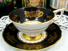 ROYAL STAFFORD FLAT BLACK ORIENTAL GOLD DRAGONS WIDE TEA CUP AND SAUCER